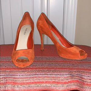 Orange Leather Peep Toe Heels